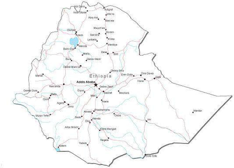 Ethiopia Black & White Map with Capital, Major Cities, Roads, and Water Features