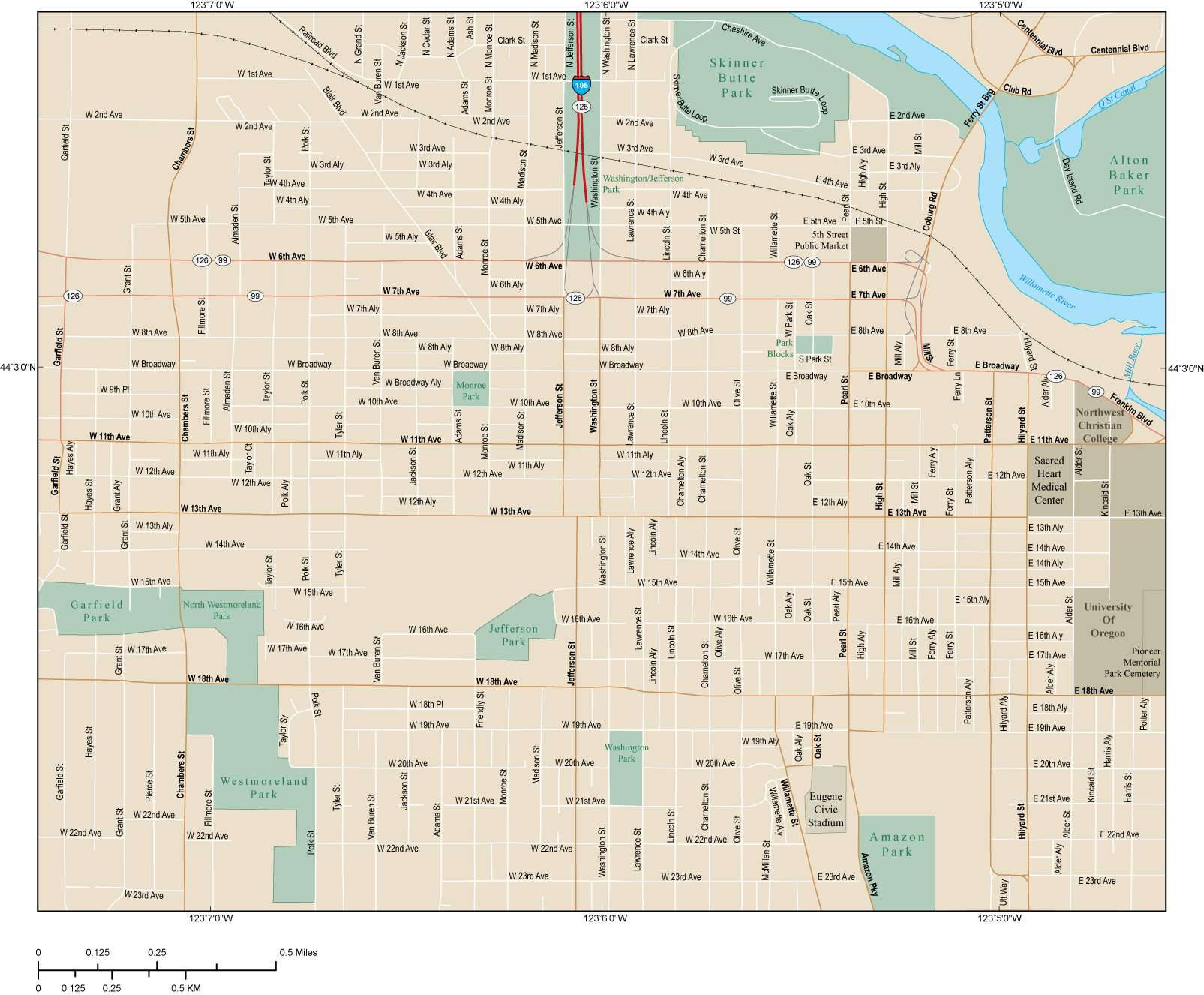 Eugene map with local streets in adobe illustrator vector format tap to expand freerunsca Image collections