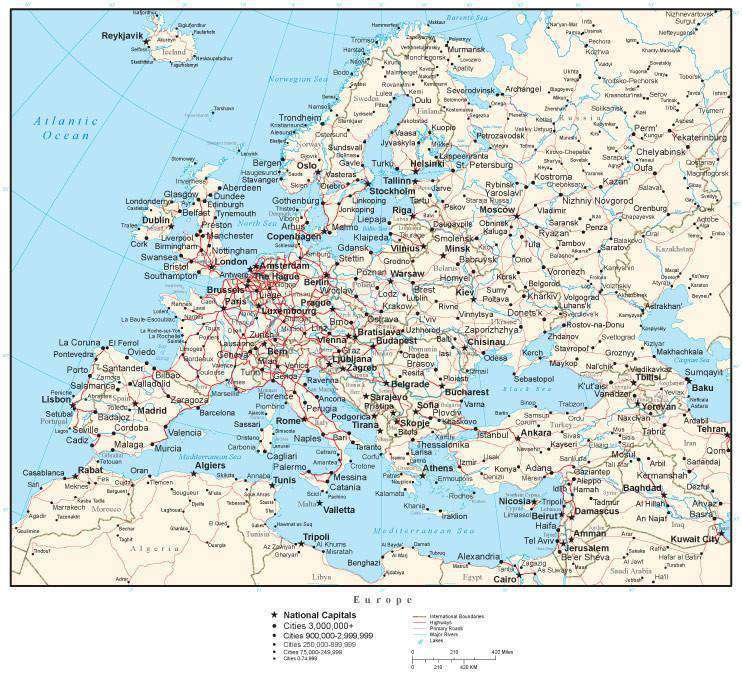map of european cities – Map of All Europe