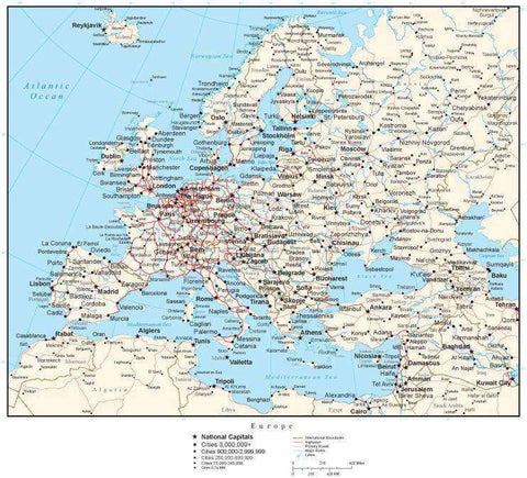 Europe Map with Country Boundaries, Capitals, Cities, Roads and Water Features