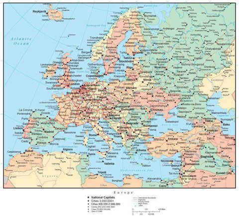 Europe Map with Countries, Capitals, Cities, Roads and Water Features