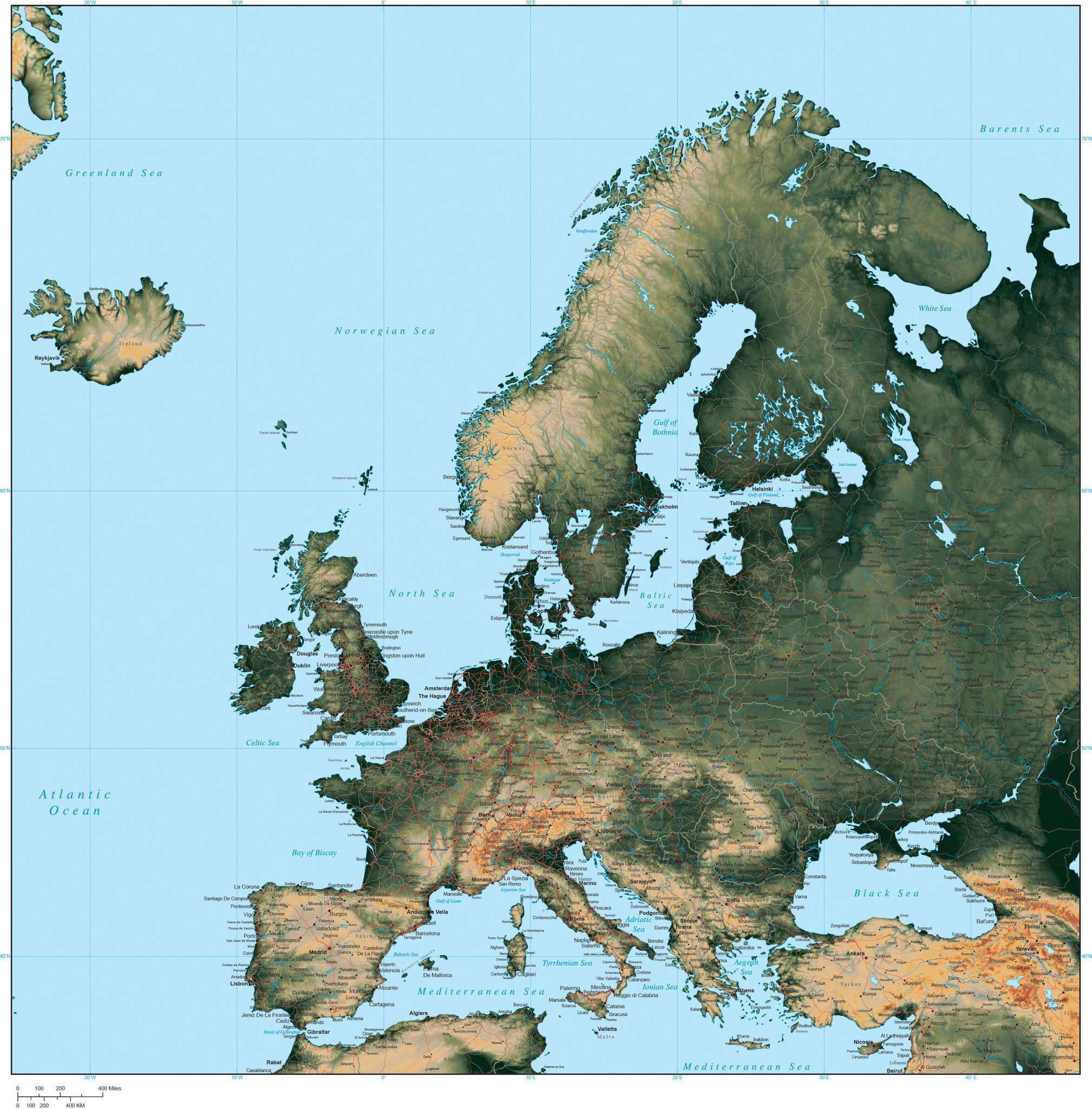 Digital europe terrain map in adobe illustrator vector format europe poster size europe map plus terrain gumiabroncs Choice Image