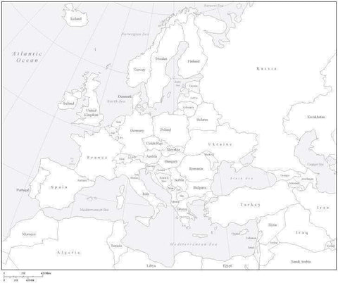 Europe Black & White Map with Countries
