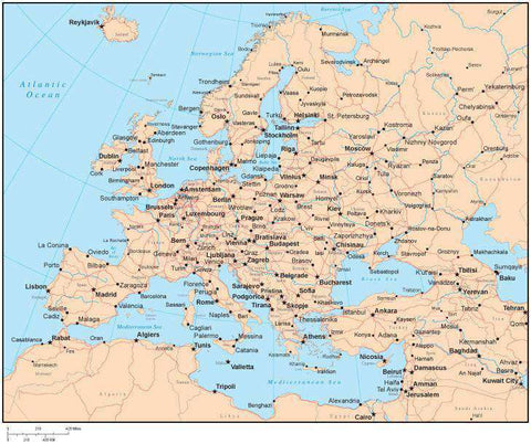 Single Color Europe Map with Countries, Capitals, Major Cities and Water Features