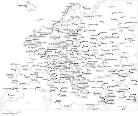 Black & White Europe Map with Countries, Capitals and Major Cities - EUROPE-533881