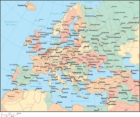 Multi Color Europe Map with Countries, Capitals, Major Cities and Water Features