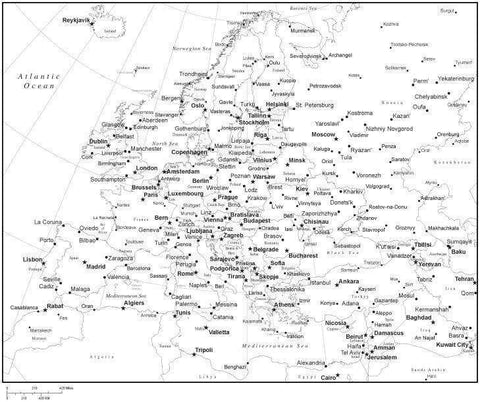 Black & White Europe Map with Countries, Capitals and Major Cities - EUROPE-533938
