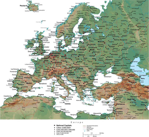 Europe in Adobe Illustrator vector format with Photoshop terrain image EUROPE-542815