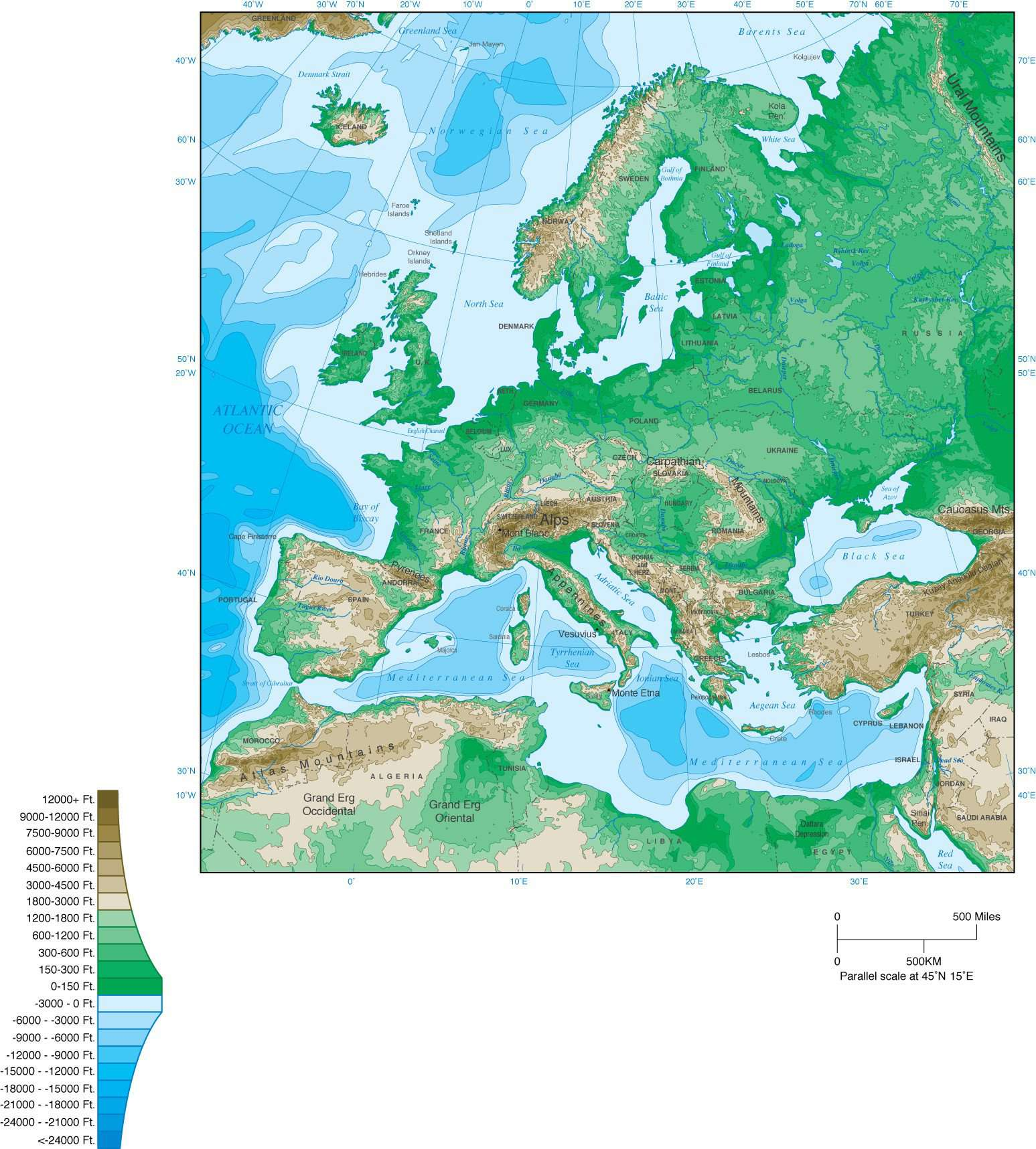 Europe Map with Contours