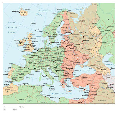 Europe Map with Time Zones