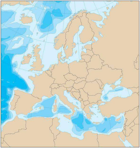 Europe Map with Political Boundaries and Contours in the Water