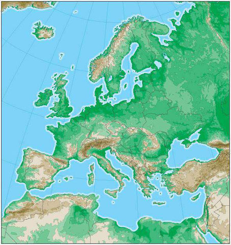 Europe Map with Land Contours