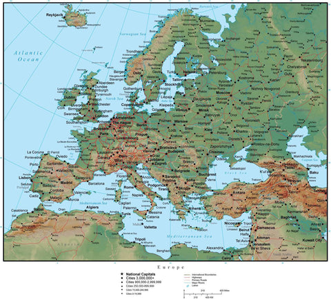 Europe in Adobe Illustrator vector format with Photoshop terrain image EUROPE-952940