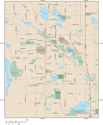 Fort Collins Map Adobe Illustrator vector format FCL-XX-984911