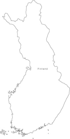 Digital Black & White Finland map in Adobe Illustrator EPS vector format