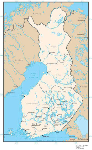 Finland Map with Region Areas and Capitals