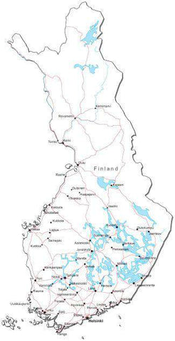 Finland Black & White Map with Capital, Major Cities, Roads, and Water Features
