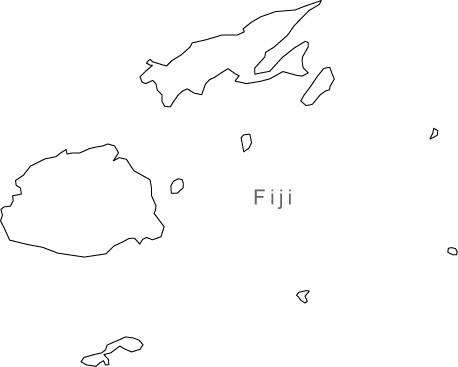 Fiji Map - Black & White Simple Outline