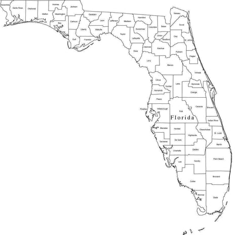 Digital FL Map with Counties - Black & White