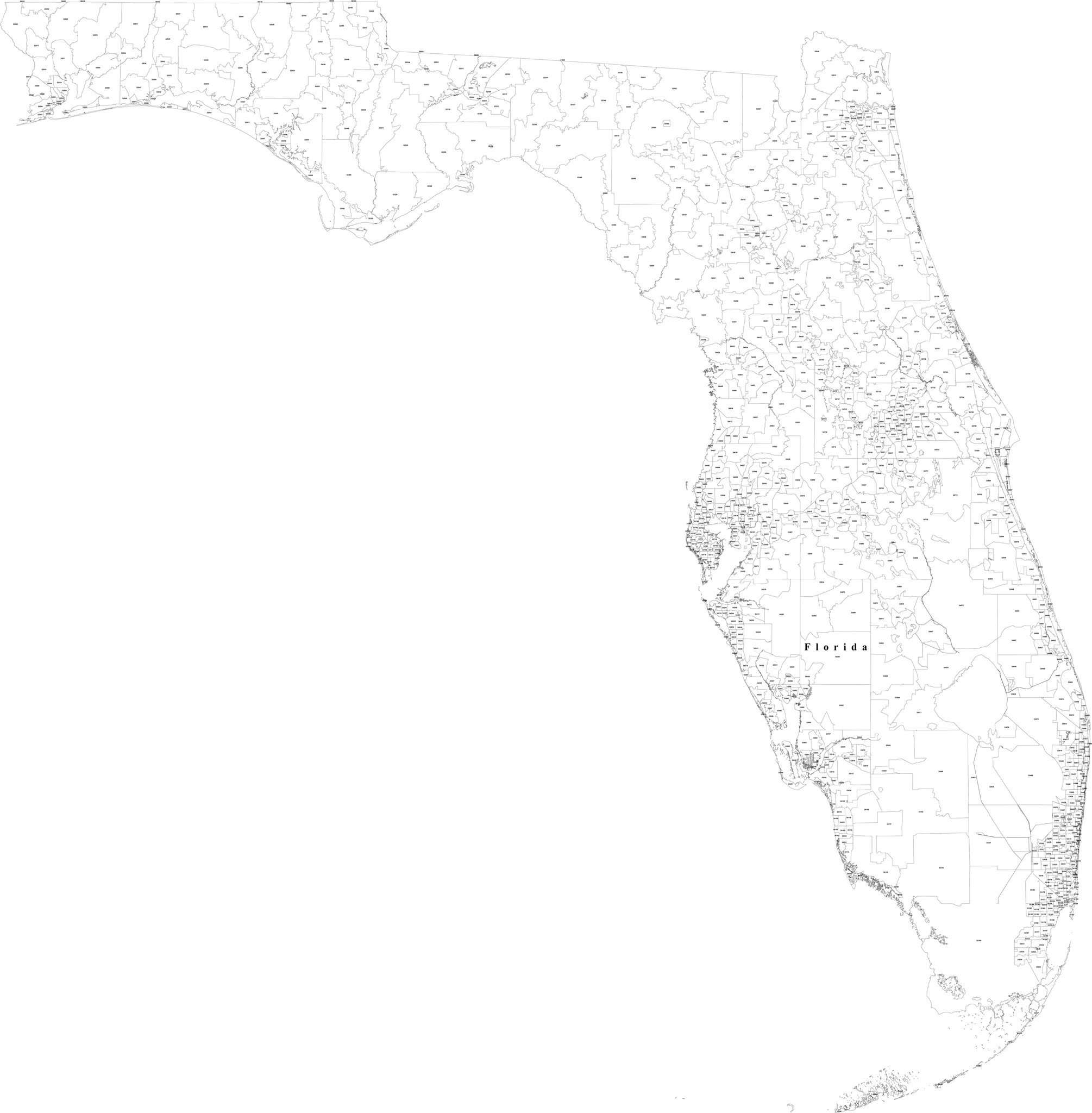 Florida Vector Map  Digit Zip Codes  Map Resources - Florida map black and white
