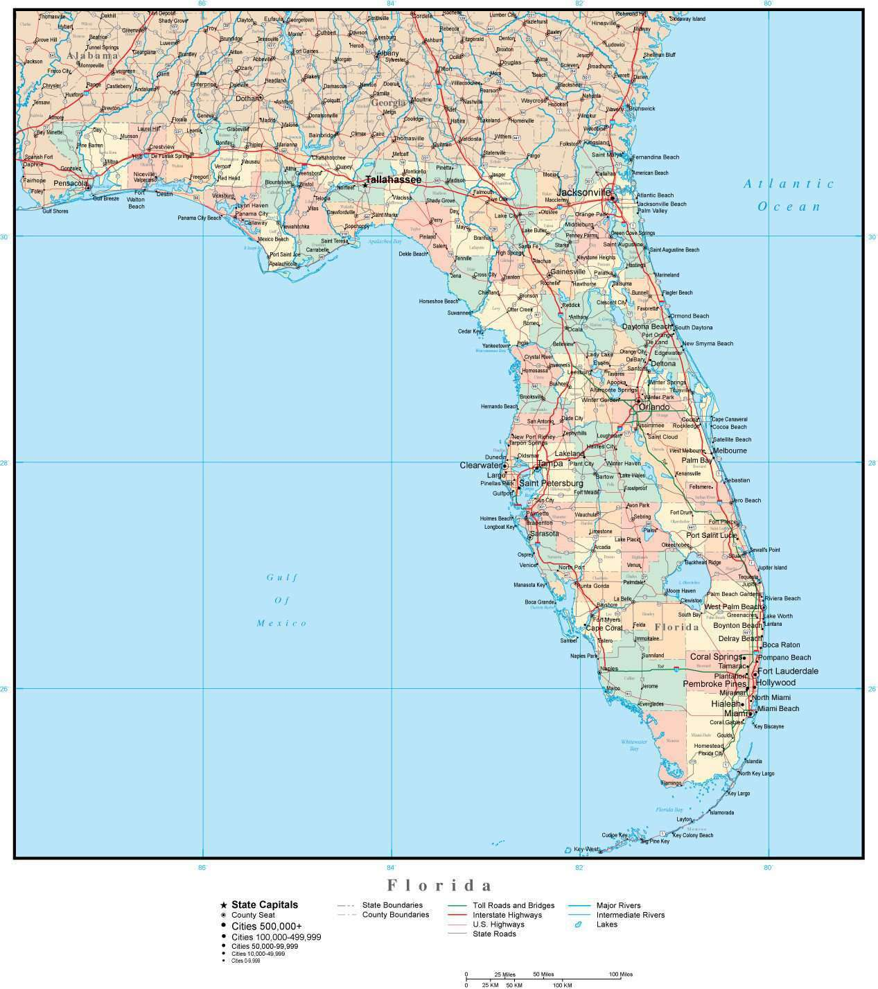 Florida County Map With Roads.Florida Adobe Illustrator Map With Counties Cities County Seats