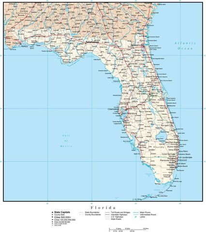 Florida Map with Capital, County Boundaries, Cities, Roads, and Water Features