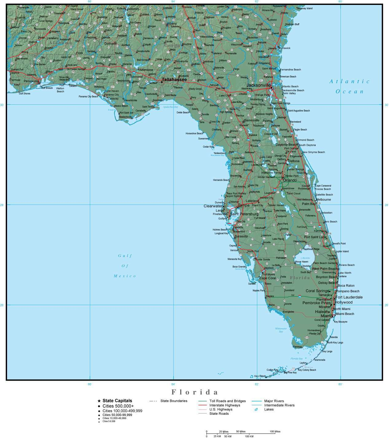 Florida On Usa Map.Florida Map Plus Terrain With Cities Roads And Water Features