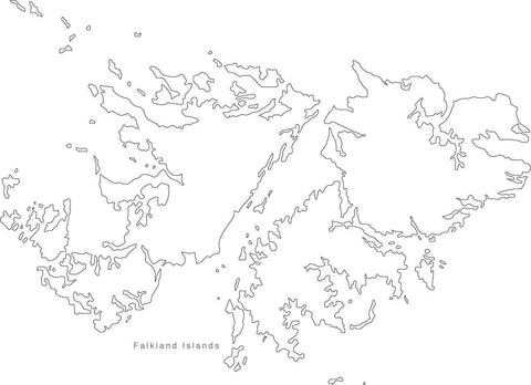Digital Black & White Falkland Islands map in Adobe Illustrator EPS vector format