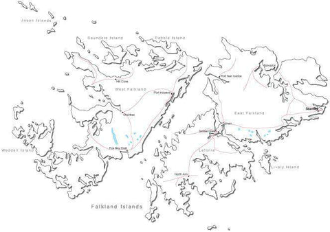 Falkland Islands Black & White Map with Capital, Major Cities, Roads, and Water Features