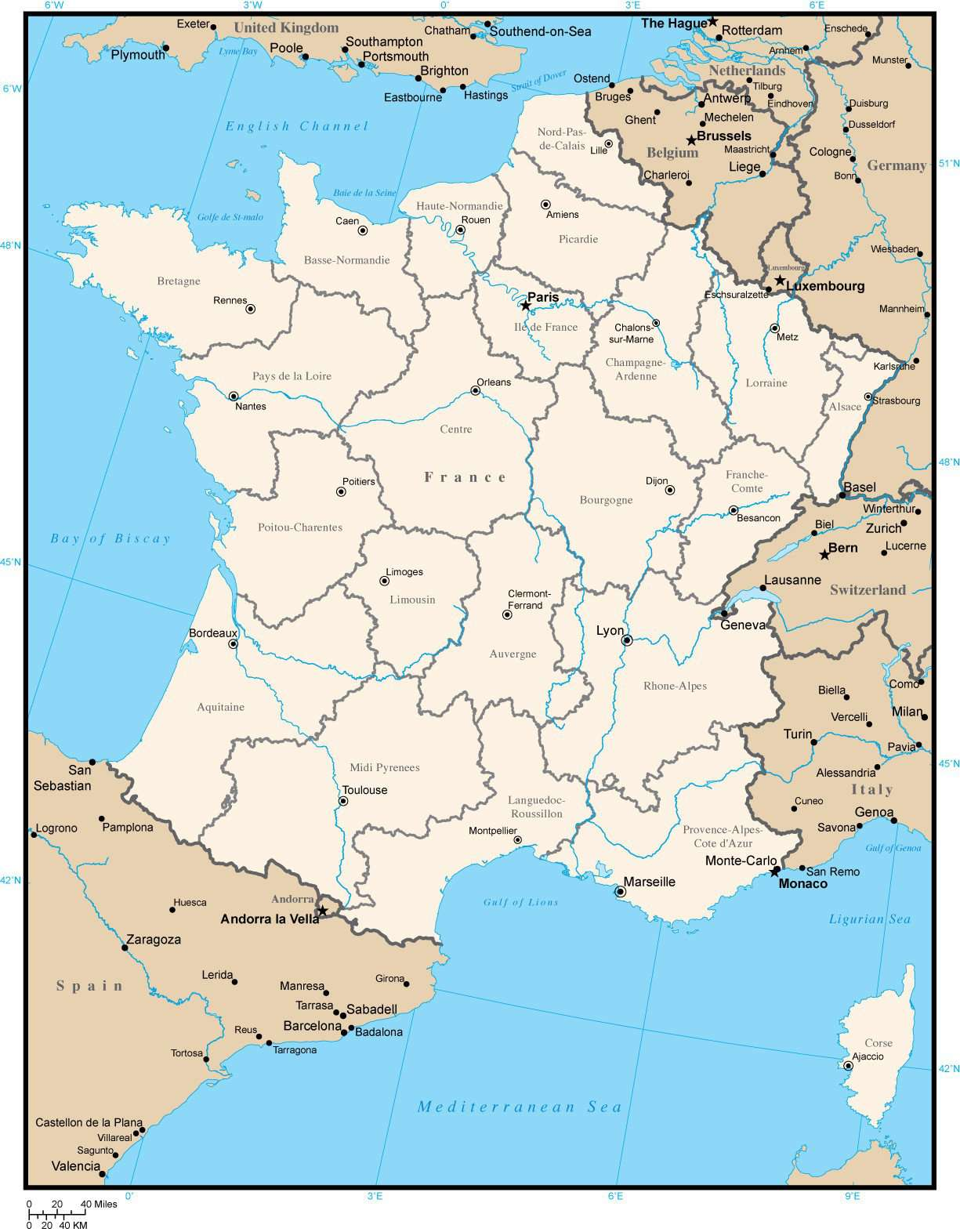 Map Of France With Cities In English.France With Provinces And Cities