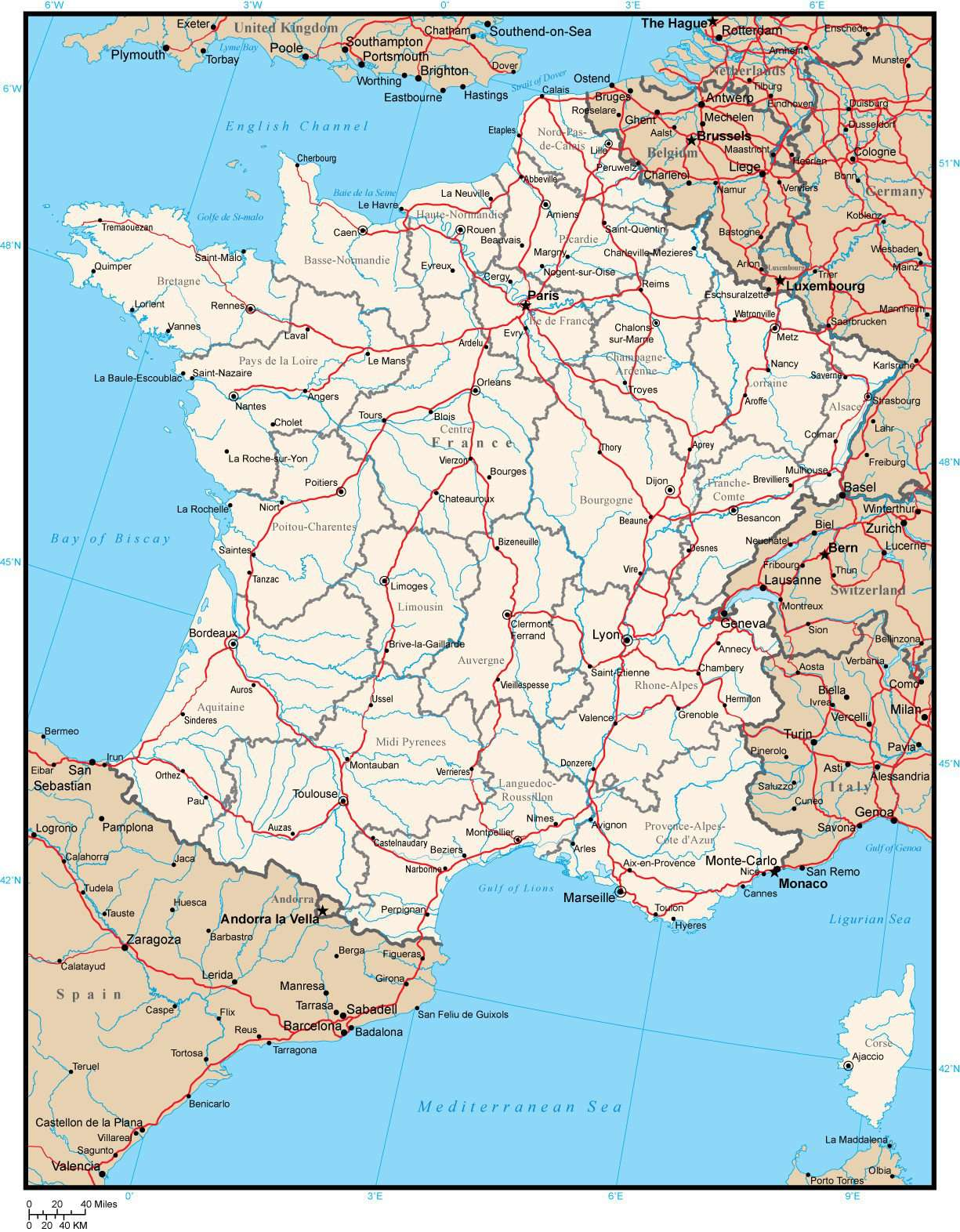 Map Of Provinces In France.France Map With Provinces Cities Rivers And Roads