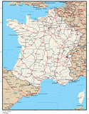 France Digital Vector Map with Provinces, Cities, Rivers and Roads
