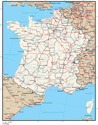 Map Of France With Cities And Rivers.France Map With Provinces Cities Rivers And Roads