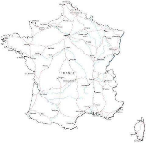 France Black & White Map with Capital, Major Cities, Roads, and Water Features