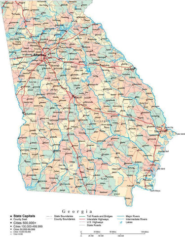 Georgia State Map - Multi-Color Cut-Out Style - with Counties, Cities, County Seats, Major Roads, Rivers and Lakes