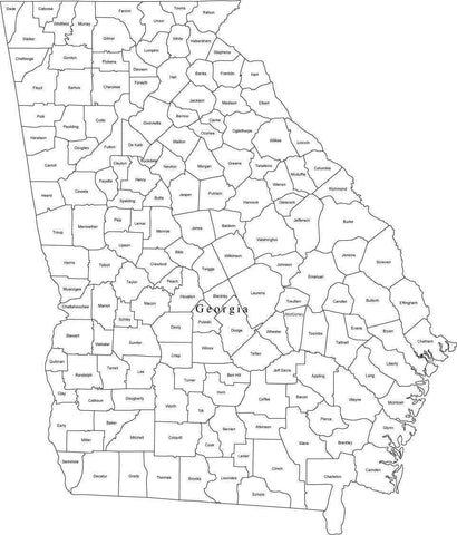 Black & White Georgia Digital Map with Counties