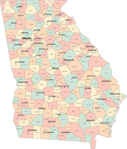Multi Color Georgia Map with Counties, Capitals, and Major Cities