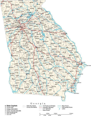 Georgia Map - Cut Out Style - with Capital, County Boundaries, Cities, Roads, and Water Features