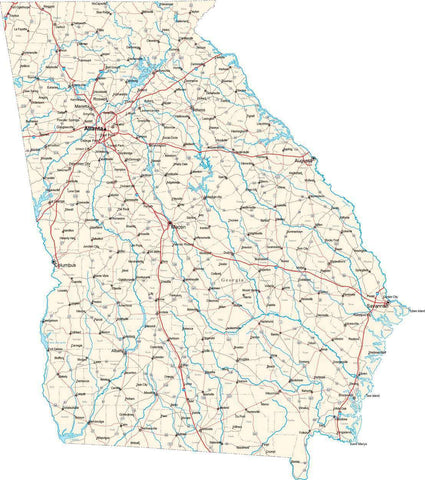 Georgia State Map - Cut Out Style - Fit Together Series