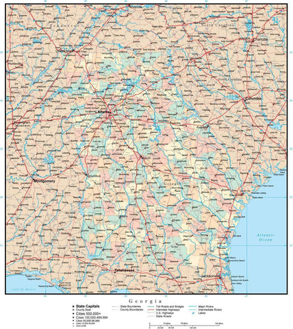Georgia Map with Counties, Cities, County Seats, Major Roads, Rivers and Lakes