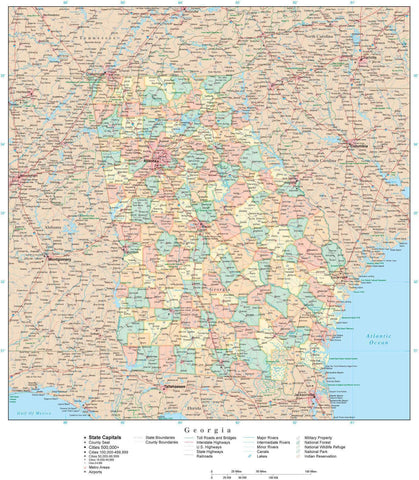 Poster Size High Detail Georgia Map with Counties, Cities, Highways, Railroads, Airports, National Parks and more