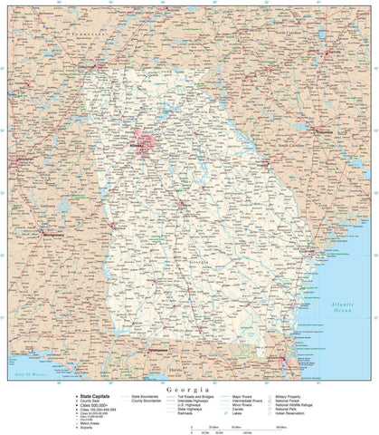 Poster Size Georgia Map with County Boundaries, Cities, Highways, National Parks, and more