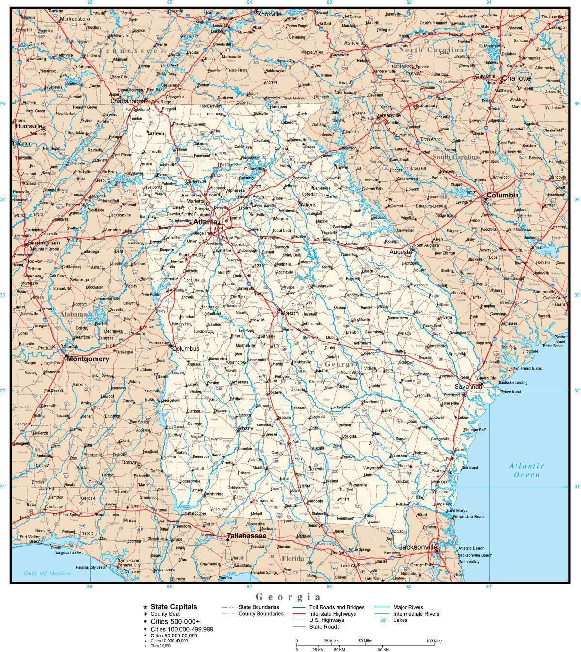 County Map Of Georgia With Roads.Georgia Map With Capital County Boundaries Cities Roads And Water Features