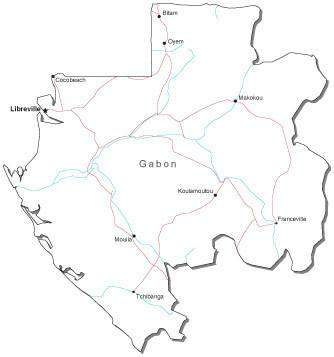 Gabon Black & White Map with Capital, Major Cities, Roads, and Water Features