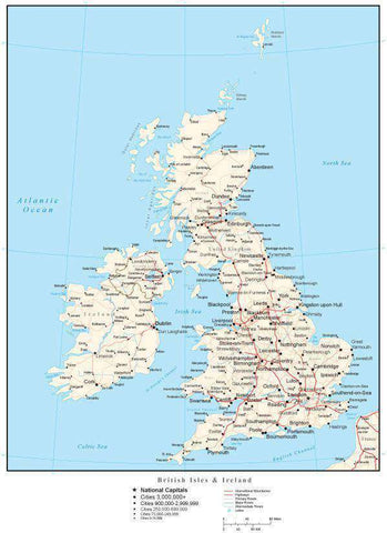 United Kingdom Map with Country Boundaries, Capitals, Cities, Roads and Water Features