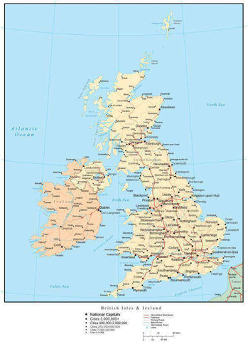 United Kingdom Map with Countries, Capitals, Cities, Roads and Water Features