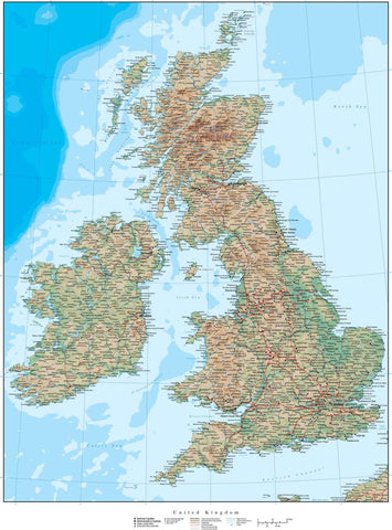 17 x 22 Inch United Kingdom Map - with Land Terrain & Water Contours