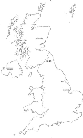 Digital Black & White United Kingdom map in Adobe Illustrator EPS vector format