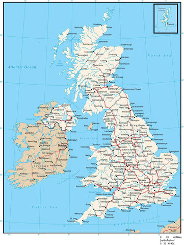 British Islands Digital Vector Map with Major Roads and Cities