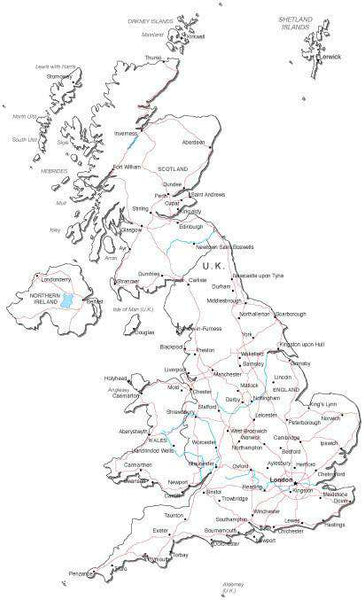Map Of Uk Black And White.United Kingdom Black White Map With Capital Major Cities Roads And Water Features